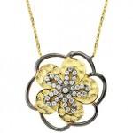 Çiçek şekilli sarı Altınbaş altın kolye modeli