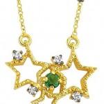 Üç yıldızlı yeşil taşlı sarı Altınbaş altın kolye modeli
