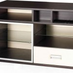 çekmeceli ve raflı koyu renk LCD tv sehpası modeli