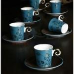 çiçek desenli mavi fincan takımları modelleri