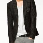 çizgili siyah armalı erkek ceket modeli