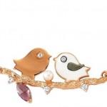 İki kuşlu kırmızı altın Altınbaş altın kolye modeli