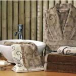 şal desenli  özdilek bornoz-havlu takımları