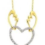 Sarı melek kanatlı beyaz kalp Altınbaş altın kolye modeli