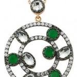 Yeşil ve beyaz taşlı içiçe halka Altınbaş altın kolye modeli