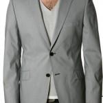 açık gri iki düğmeli erkek ceket modeli