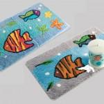 balık desenli banyo halıları modelleri 150x150 Banyo Halıları Modelleri