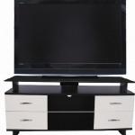 beyaz çekmeceli siyah LCD tv sehpası modeli