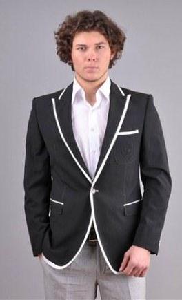 beyaz biyeli siyah erkek ceket modeli