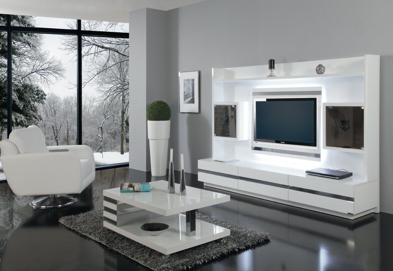 Beyaz parlak geri çizgili lcd plazma tv yaşam ünitesi modelleri