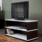 beyaz raflı siyah LCD tv sehpası modeli