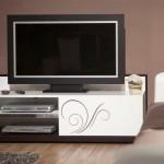desenli beyaz kapaklı LCD tv sehpası modeli