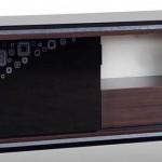 desenli siyah camdan LCD tv sehpası modeli