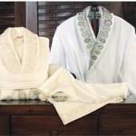 gri -pembe gipürlü özdilek bornoz-havlu takımları