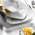 gri yaprak gümüş desenli karaca yemek takımları modelleri