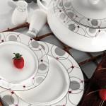 gri yuvarlak desen siyah çizgili pembe puanlı karaca yemek takımları modelleri 150x150 Karaca Yemek Takımı Modelleri