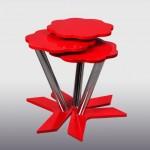 kırmızı çiçek modelli metal ayaklı zigon sehpa modelleri