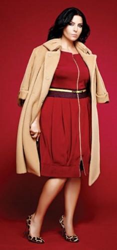 Kırmızı önden fermuarlı jus de pommes büyük beden elbise modeli