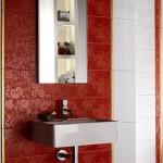kırmızı gül motifli banyo fayansları modelleri