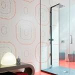kırmızı gri beyaz banyo fayansları modelleri