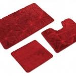 kırmızı kendinden desenli banyo halıları modelleri 150x150 Banyo Halıları Modelleri
