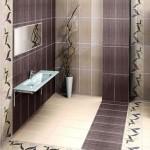 kahve krem yaprak desenli banyo fayansları modelleri