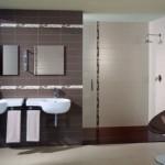 kahverengi ince bordürlü banyo fayansları modelleri