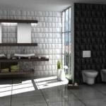 kareli kabartmalı banyo fayansları modelleri