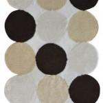 krem kahve puanlı banyo halıları modelleri 150x150 Banyo Halıları Modelleri