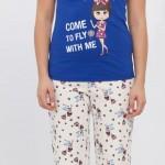 krem lacivert lcw bayan pijama modeli 150x150 LCW Bayan Pijama Modelleri
