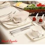 krem puanlı karaca yemek takımları modelleri