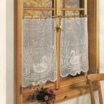 kuğu desenli cam için el örgü perde modelleri