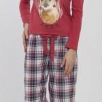 lacivert kırmızı küçük kareli lcw bayan pijama modeli