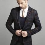 lacivert kareli erkek ceket modeli