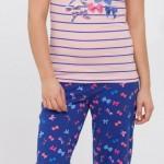 lacivert pembe fiyonk desenli lcw bayan pijama modeli