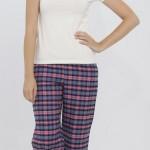 lacivert pembe kareli lcw bayan pijama modeli