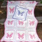pembe kelebekli bebek battaniye modelleri
