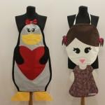 penguen ve kız modelli mutfak önlükleri modeli