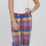 renkli kareli lcw bayan pijama modeli