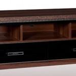 siyah çekmeceli kahverenkli LCD tv sehpası modeli