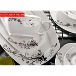 siyah çiçek desenli karaca yemek takımları modelleri 150x150 Karaca Yemek Takımı Modelleri