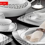 siyah baklava desenli sosluklu karaca yemek takımları modelleri