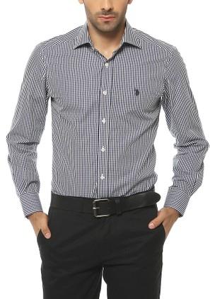 siyah beyaz küçük kareli us polo erkek gömlek modelleri