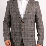 siyah biyeli gri kareli erkek ceket modeli