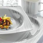 siyah gümüş çizgili karaca yemek takımlar modelleriı